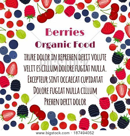 Cartoon berries menu. Raspberry, blackberry, gooseberry, red currant, black currant, strawberry, blueberry. Flat vector style.