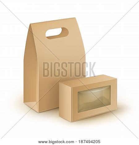 Vector Set of Brown Blank Cardboard Rectangle Take Away Handle Lunch Boxes Packaging For Sandwich, Food, Gift, Other Products with plastic windows Mock up Close up Isolated on White Background