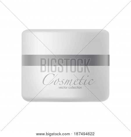 Vector illustration of plastic jar for cosmetics cream isolated on white.