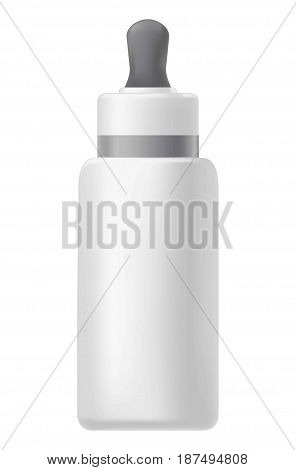 Vector illustration of a bottle with a gray pipette for cosmetics on the white background.