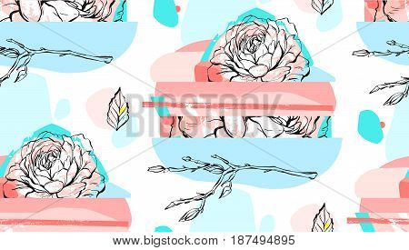 Hand made abstract textured trendy creative collage seamless pattern with floral motif isolated on white background with different textures and shapes.Modern graphic design.Unusual artwork.Wedding art