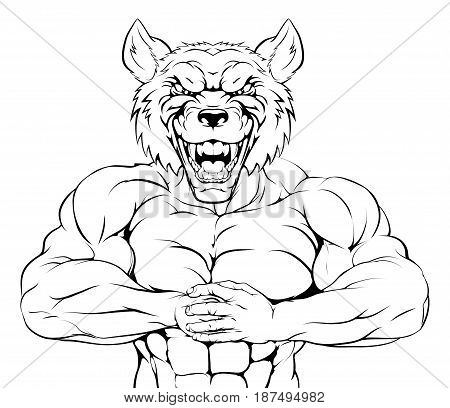 Wolf mascot character or sports mascot ready for a fight