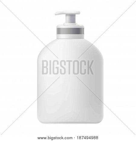 Vector illustration of the plastic clear jar with a dispenser on the white background.