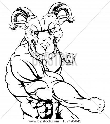 A tough muscular ram mascot character in a fight punching