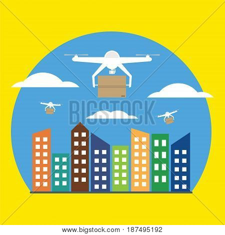 Air drones carrying cardboard box in blue sky with cloud over city .Vector illustrator concept of futuristic delivery drone.