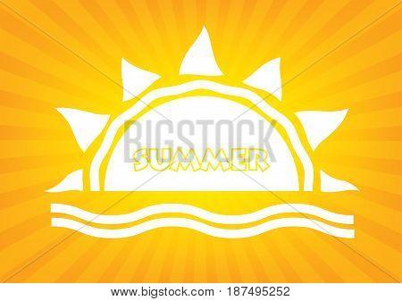 Summer time logo typography poster on orange sunrays background. Vector illustration design logo poster.
