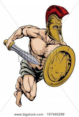 An illustration of a gladiator warrior character or sports mascot  in a trojan or Spartan style helmet holding a sword and shield