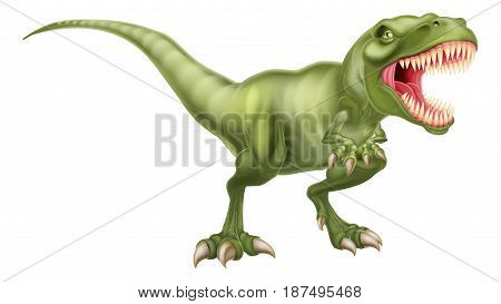 An illustration of a fierce tyrannosaurs rex dinosaur roaring