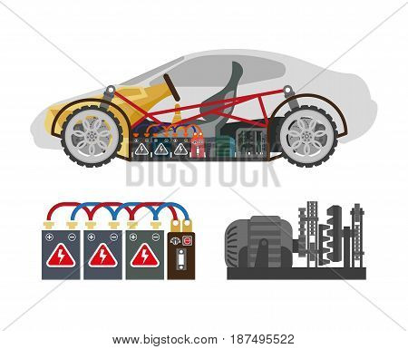 Auto inside construction scheme and its components isolated on white. Vector colorful illustration in flat design of inner part of automobile and set of necessary for driving elements below.