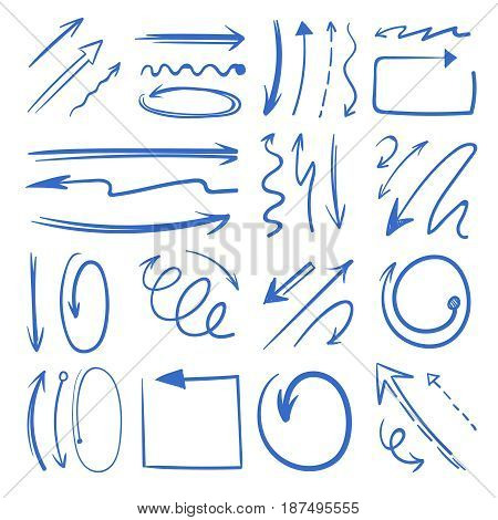Different doodle arrows set. Vector pictures isolate on white. Direction arrow doodle, illustration of sketch pointer arrow