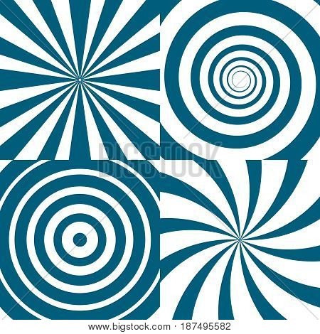 Vector set of twirls. Psychedelic circles and swirl. Spiral twirl circle background, illustration of twist round pattern
