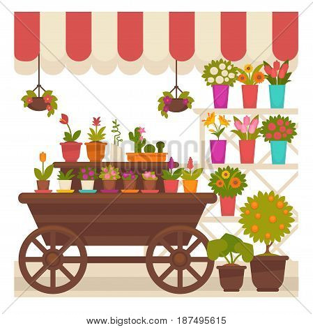 Trade striped tent with natural flowers and indoor plants in clay and ceramic pots on wooden cart, creamy color stand and suspended from ceiling isolated vector illustration on white background.