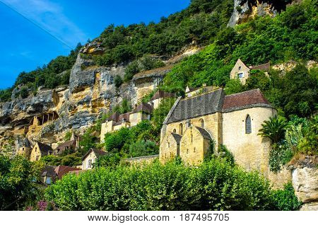 Medieval church of la Roque Gageac in Dordogne, classified among the most beautiful villages of France.