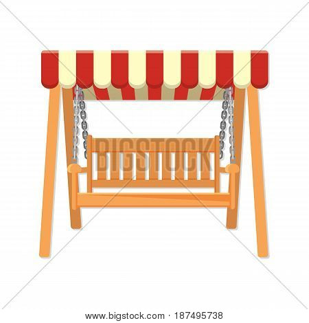 Garden wooden swing with striped awning vector illustration isolated on white background. Seat or bench on chains in realistic style