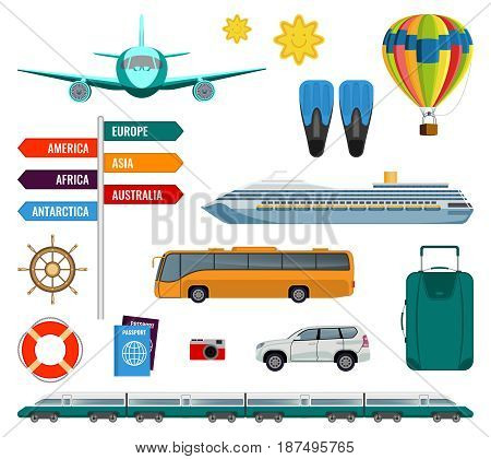 Set of summer holidays transport items vector illustration isolated on white. Types of transport and travelling accessories