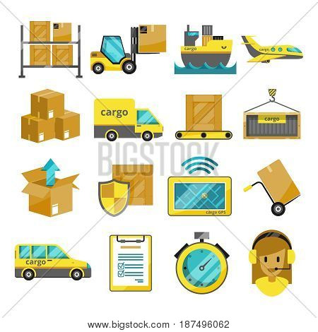 Cargo vector icon set isolated. Airplane, harbor ships, logistic conveyer. Illustration of shipping and logistic transportation