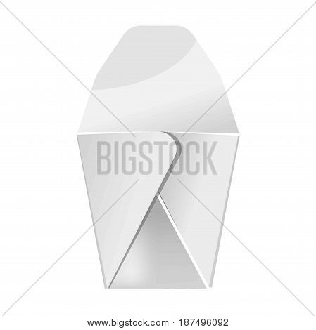 Blank white food paper container isolated close up vector illustration in flat design. Box made of carton for meal storage and carrying. Cardboard take away packaging for lunch and sandwich.