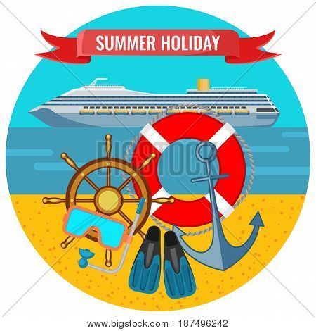 Summer holiday posters with travelling cruise liner, lifebuoy, anchor and flippers on background of beach seaside, journey by water concept
