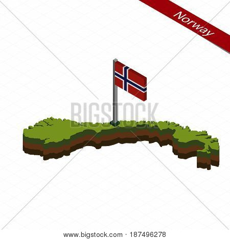 Norway Isometric Map And Flag. Vector Illustration.