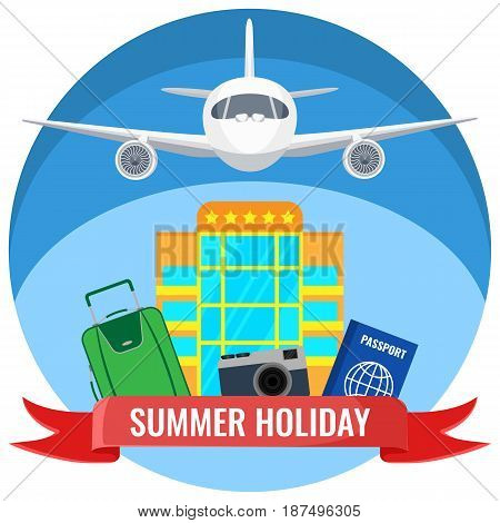 Summer holiday posters with travelling accessories, plane flying in the sky, hotel and passport document, journey by air concept vector illustration