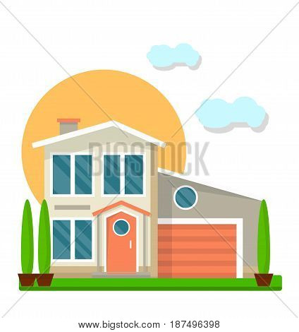 Residential two-floored house with garage and garden. Green trees under big sun and small clouds isolated on white. Vector colorful illustration in flat design of building type for family living.