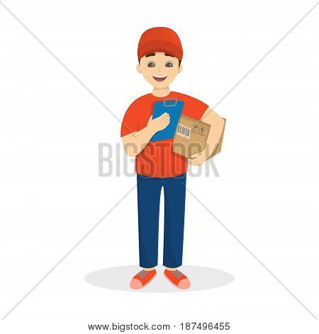 Delivery man with parcel in red uniform on white background.