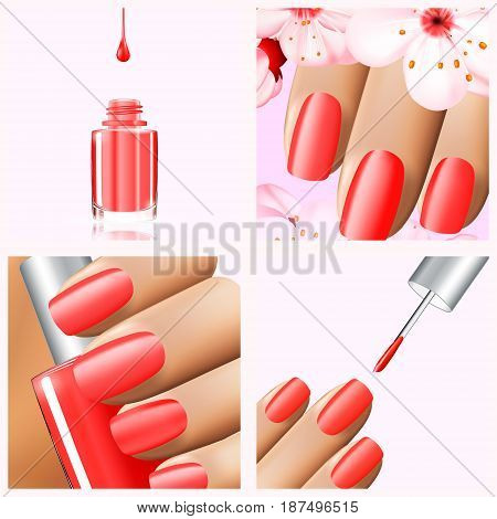Colorful red collection of nail designs for summer and spring. Vector 3d illustration. Nailpolish lacquer ads, nail polish splatter on white background. Manicure vogue ads for design.