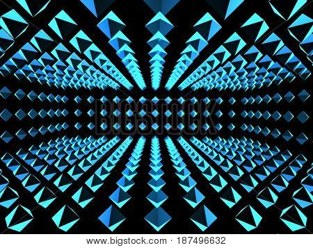 Abstract background with tunnel from boxes of blue color. 3d render