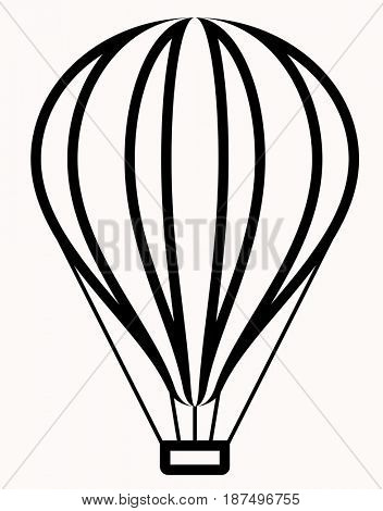 Hot Air Balloon Icon  Raster Illustration