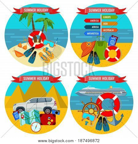 Set of summer holidays posters travelling by land and water concept. Accessories for good journey and means of transportation on background of tropical scenery