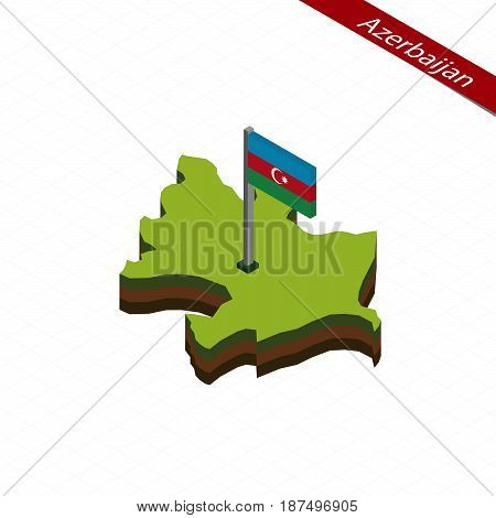 Azerbaijan Isometric Map And Flag. Vector Illustration.