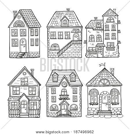 Cute little houses and different roofs. Doodle vector illustration of home. Architecture hand drawn house with window and door
