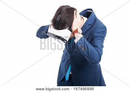 Stressed Young Salesman Being Disturbed By Loud Noise