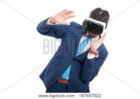 Male Lawyer In Suit With Virtual Reality Glasses