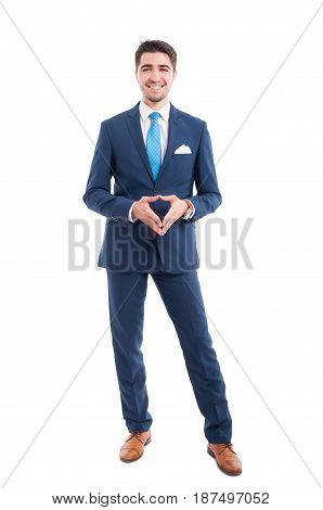 Happy And Confident Salesman In Elegant Suit
