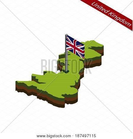 United Kingdom Isometric Map And Flag. Vector Illustration.