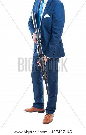 Unknown Secret Agent Holding A Dagerous Weapon
