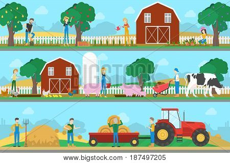 Farm illustration set. Animals with harvest and farmers.