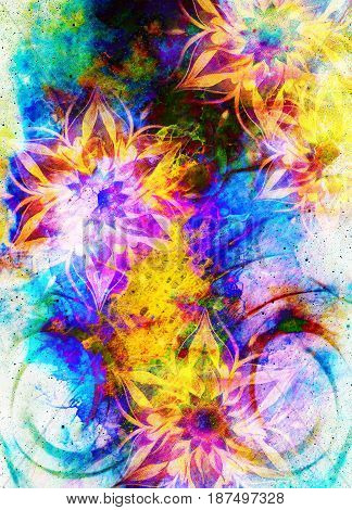 filigrane floral ornament with mandala shape on cosmic backgrond, computer collage. Fire effect