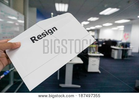 concept of business people submit resignation letter in office poster