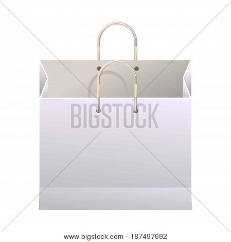 Big spacious empty unused white paper shopping bag for light products, clothes and other small purchases with thin convenient handles isolated realistic vector illustration on white background.