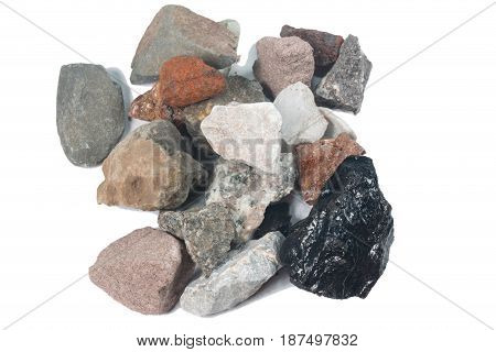 Various minerals for energy isolate on white Background
