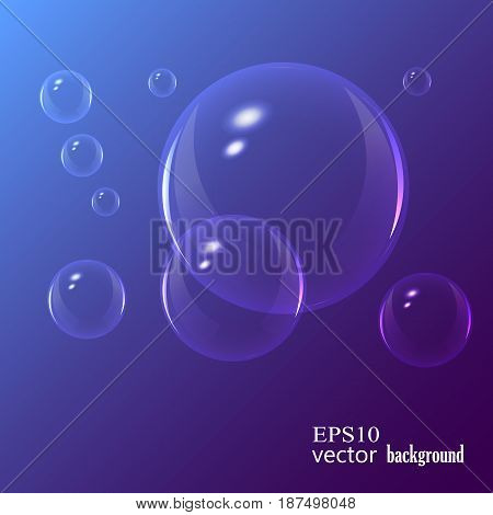 Soap bubbles on black background. Vector illustration.