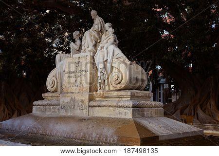 Alameda Doctor Moliner statue in Valencia of Spain
