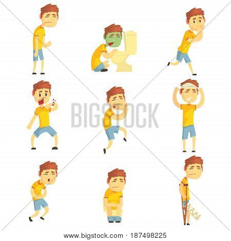 Men with pain and diseases set. Sick people colorful cartoon characters vector Illustrations isolated on a white background