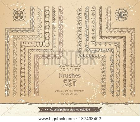 Vector Set Of 10 Vintage Lace Crochet Seamless Brushes.