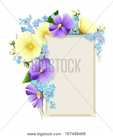 Isolated floral frame on white background. Element of decoration. Yellow and velvet flowers.