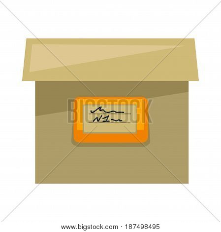 Simple square cardboard cartoon box with cover and address sign in orange frame on side isolated vector illustration on white background. Container for big premises or moving stuff to other dwelling.
