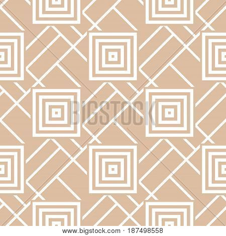 Geometric seamless pattern. Brown abstract background with square shape elements. Vector illustration