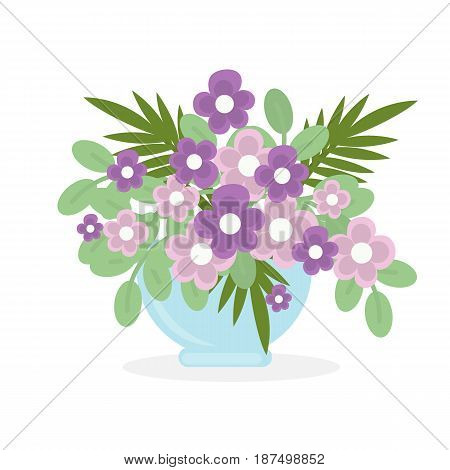 Flowers in pot on white background. Violet flowers.